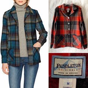 Pendleton Wool Plaid Red Button 49er Jacket Medium